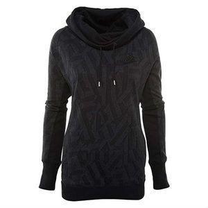Nike Womens Jacquard Rally Hoodie Shirt Top Black